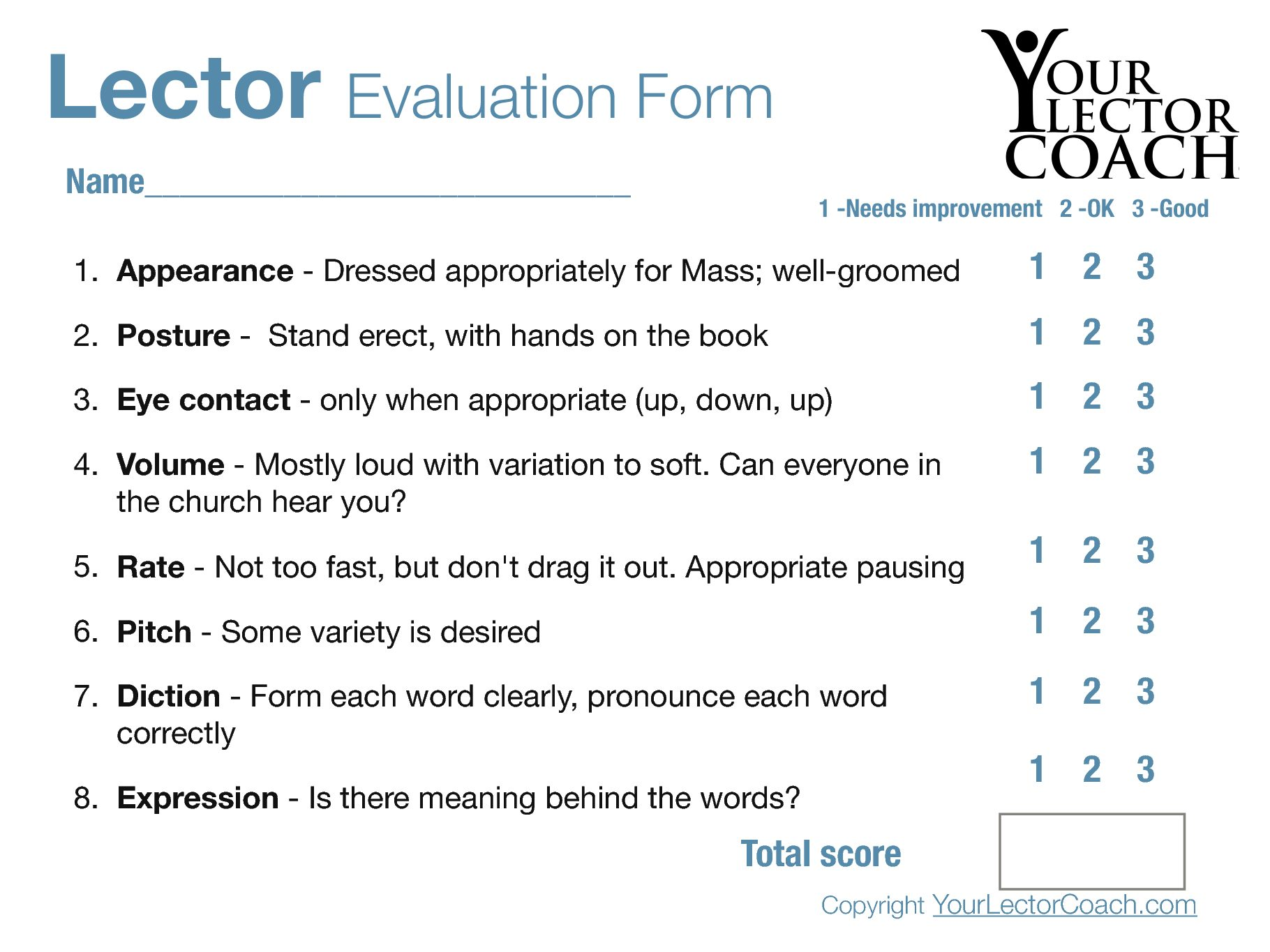 211c369791a8 Lector Evaluation Form – FREE – Your Lector Coach